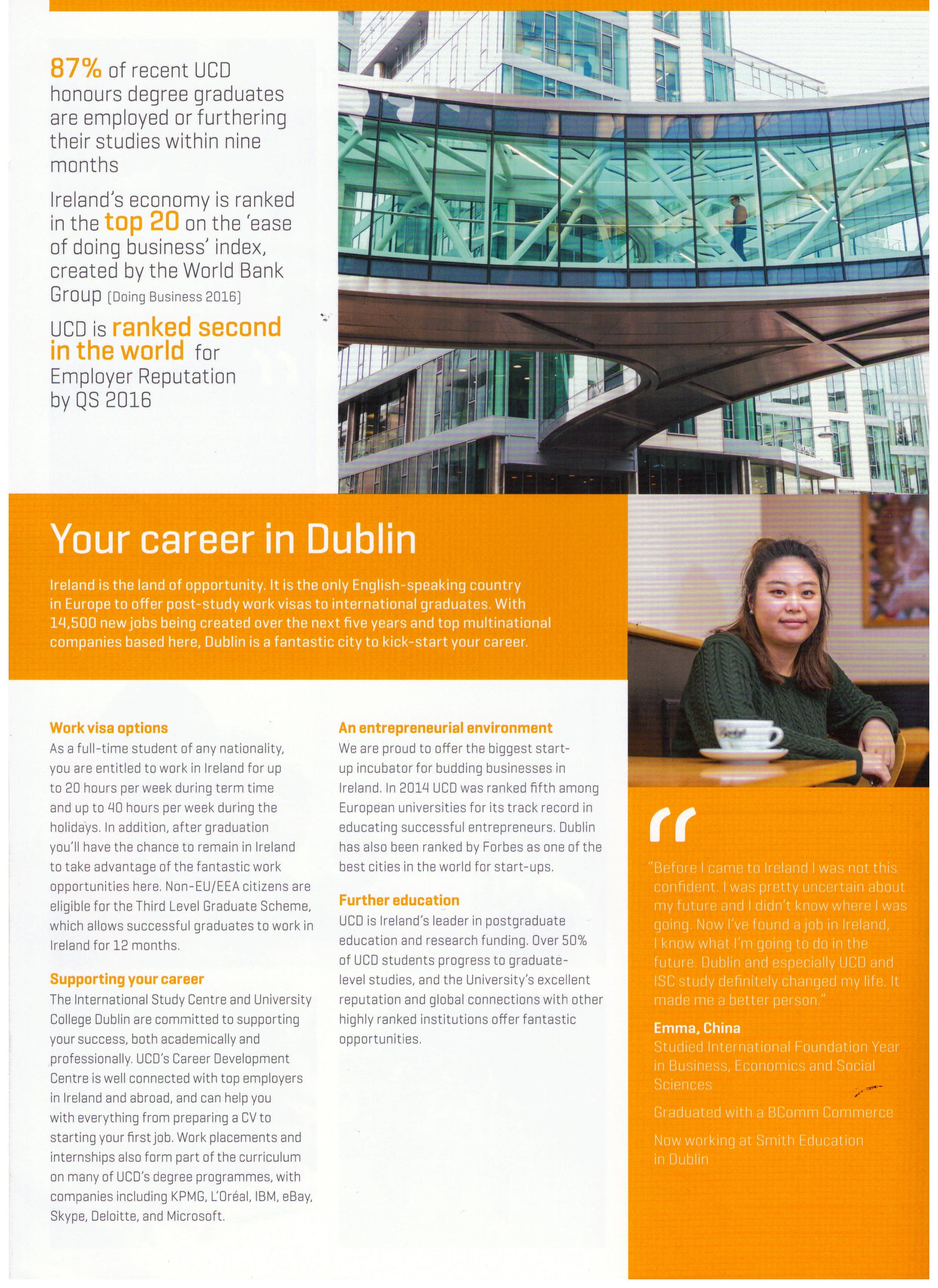 Career in Dublin, Ireland