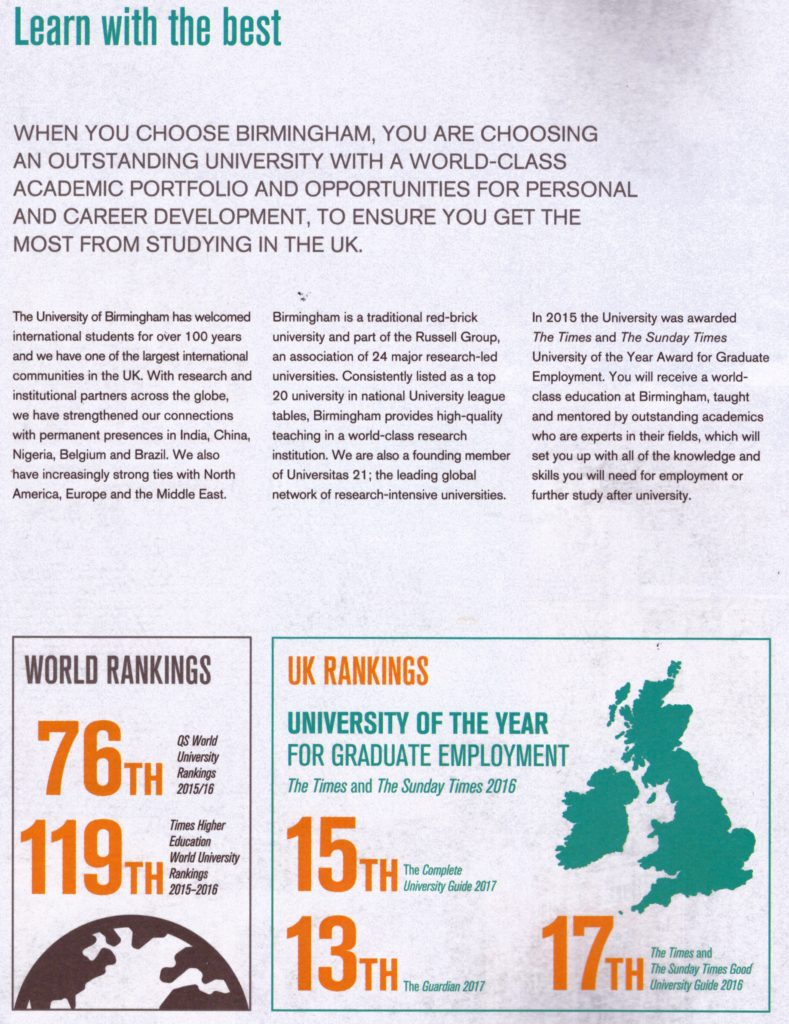 University of Birmingham - Learn with the Best