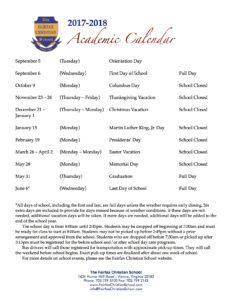 FCS 17-18 Academic Calendar