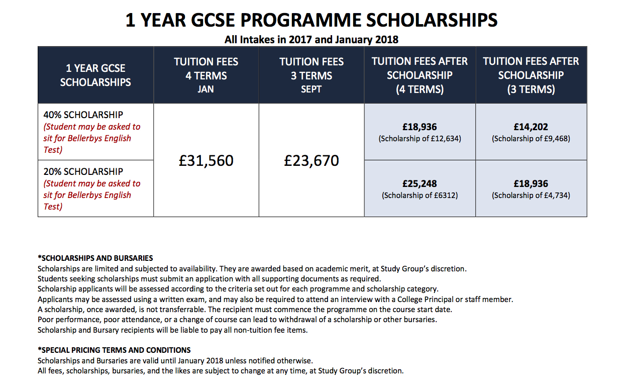 Bellerbys Singapore 1 Year GCSE Scholarship